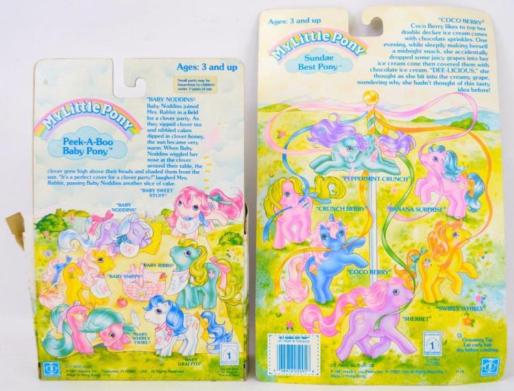 two 1987 g1 hasbro mlp my little pony mip coco berry  baby