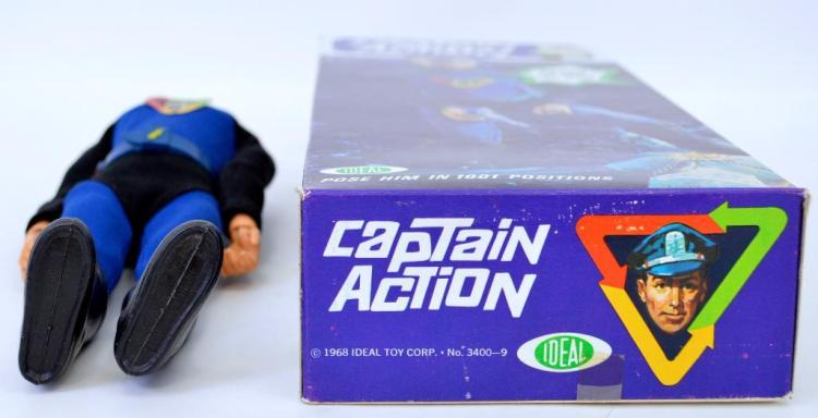 Vintage 1968 Ideal Captain Action unused w/ scarce photo box 3400-9 factory error