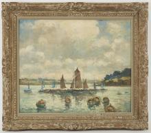 Marcel PARTURIER (1901-1976) Le port de Douarnenez Huile sur toile signée en bas à gauche et située