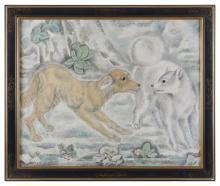 Sei KOYANAGUI (1896-1948) Les chiens Huile sur toile signée en bas à gauche