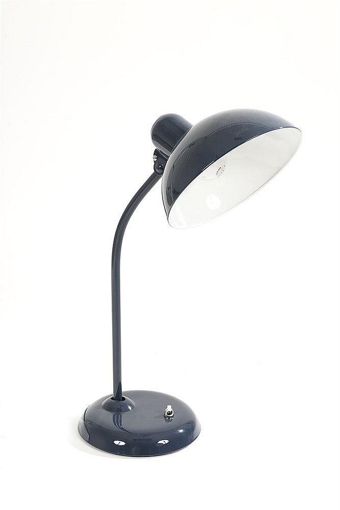 christian dell lampe kaiser en m tal laqu bleu navy h 54 c. Black Bedroom Furniture Sets. Home Design Ideas