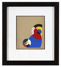 Étienne BEÖTHY (1897-1961) Composition, 1937 Gouache sur papier monogrammée