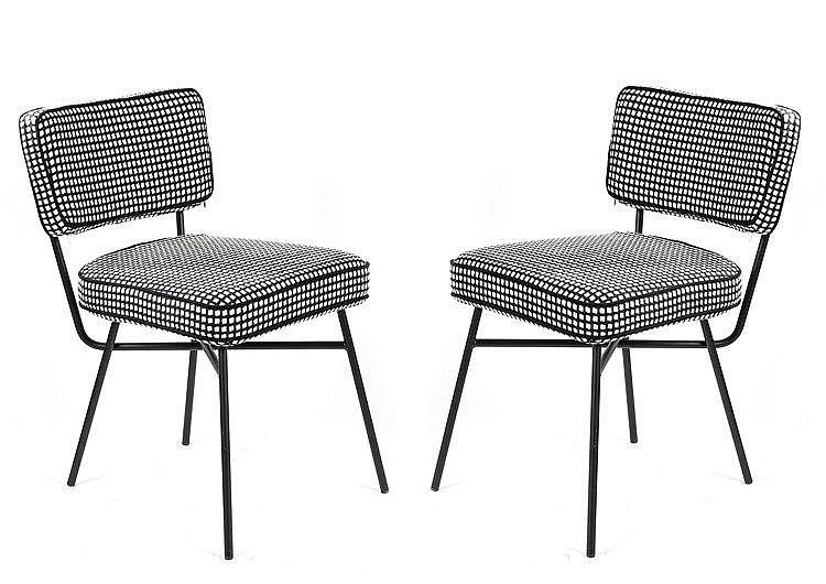 BBPR designer Paire de chaises Elettra , piètement en aci