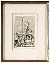 Pedro FLORES (1897-1967) La Concorde Crayon, encre et aquarelle signé en ba