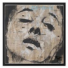 Guy DENNING (1965) Loxodonta, 2015 Pastel et crayon gras sur papier journal