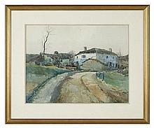 Octave LAFAY (1878-1937) Maison en campagne Aquare
