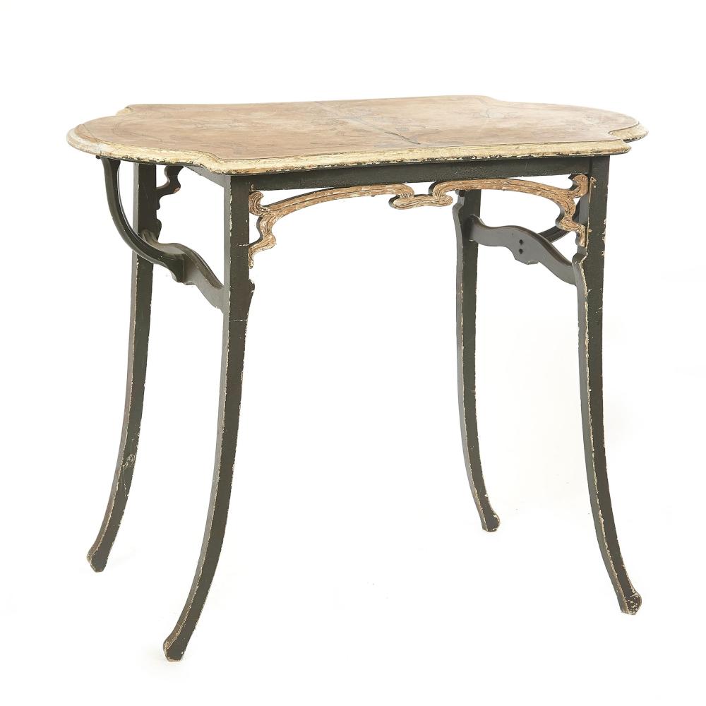 Petite Table De Salon En Bois Rechampi Vert Et Marqueterie D