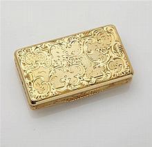 Boîte à priser en or jaune 18K (750/oo) à décor de
