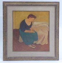 Maurice Louis SAVIN (1894-1973) Femme au collier Huile sur panneau signée e