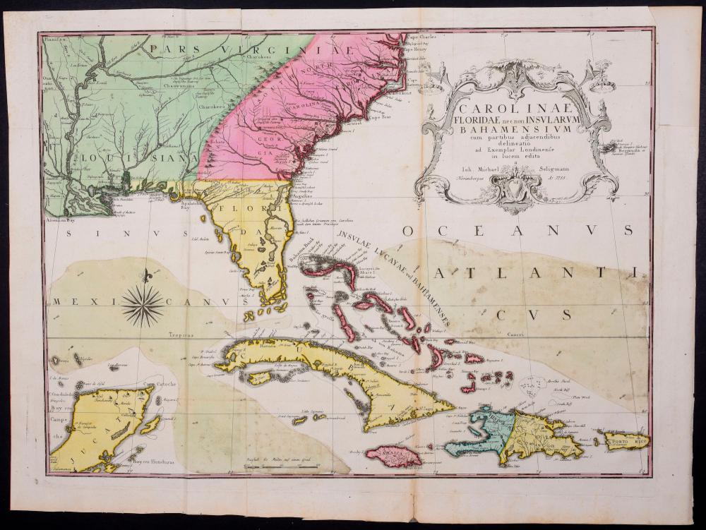 Seligmann - Map of the Carolinas, Florida, and the Bahamas