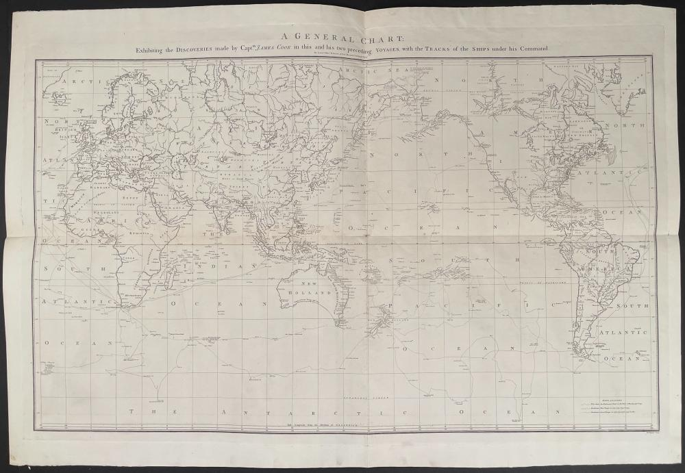 Captain Cook, Large Folio - A General Chart Exhibiting the Discoveries made by Captain James Cook in this and his two preceding Voyages: with the Tracks of the Shipsunder his Command