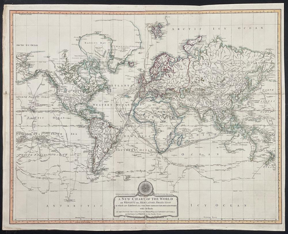 Laurie & Whittle - A New Chart of the World, on Mercator's Projections, exhibiting all the new Discoveries of Capt. Cook, Vancouver, Perouse, &c. &c.