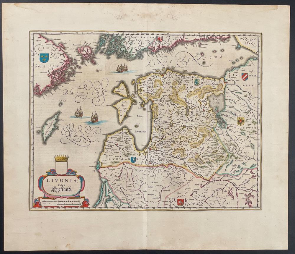 Blaeu - Map of Baltic, Lithuania, Estonia, Latvia, Gottalandia, and parts of Sweden & Finland