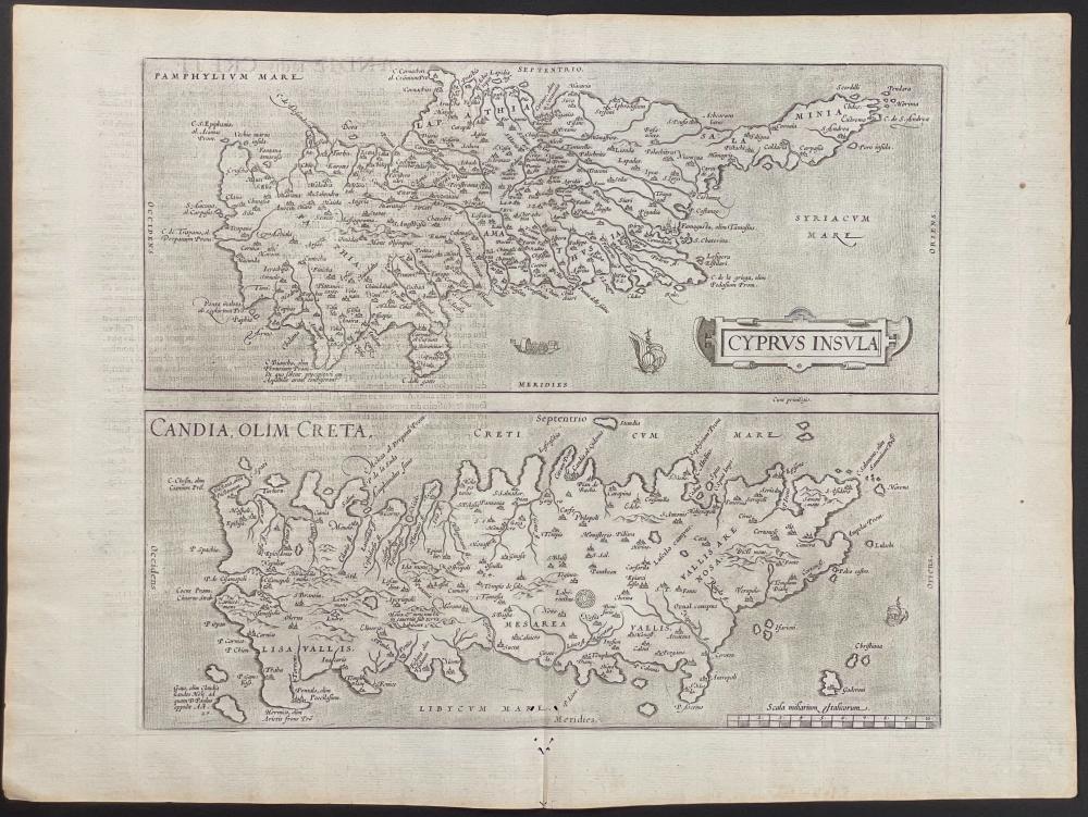 Ortelius, Folio, pub. 1581 - Map of Cyprus, Candia & Crete
