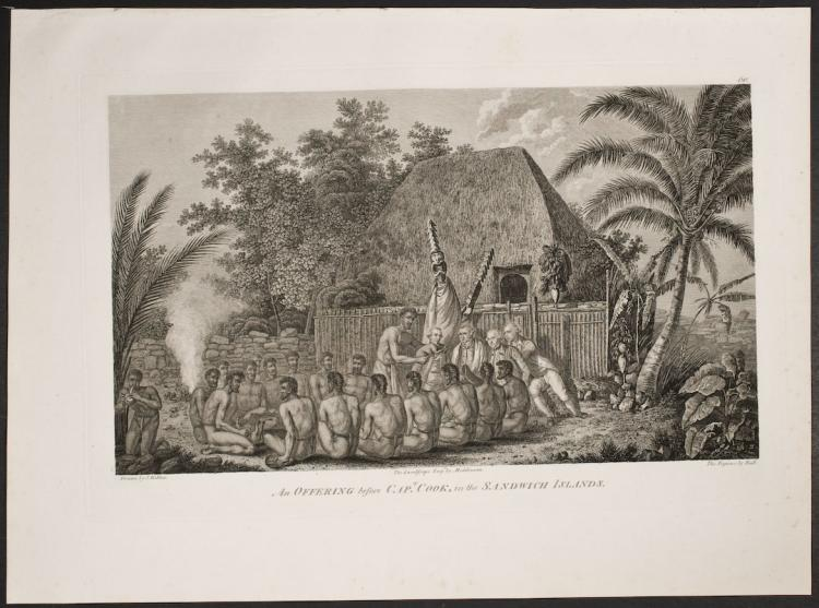 Cook - An Offering before Captain Cook, in the Sandwich Islands. 60