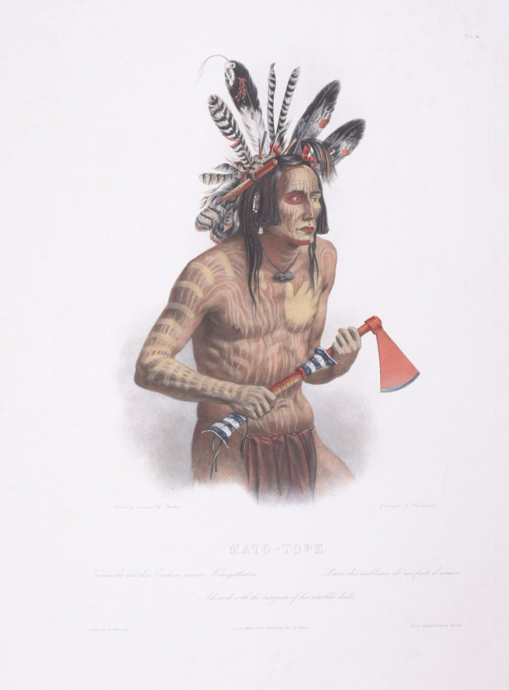 Lot 11191: Karl Bodmer - Mato-Tope, Adorned with the insignia of his warlike deeds