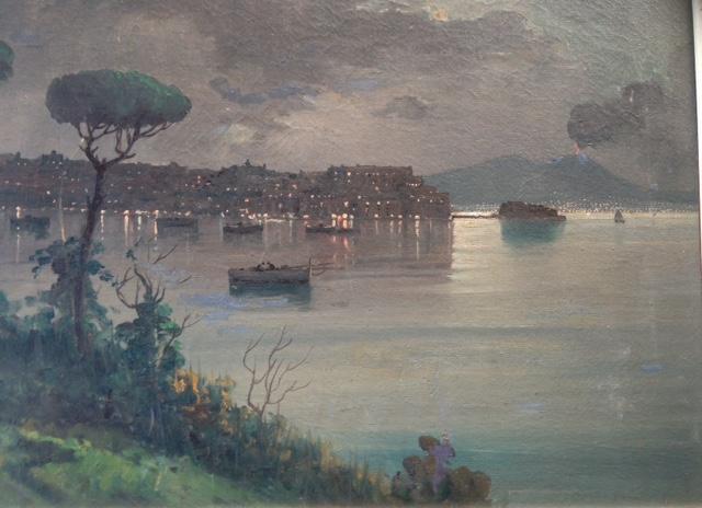 ITALIAN IMPRESSIONIST PAINTING, 'MT VESUVIUS', EMILIO PASINI