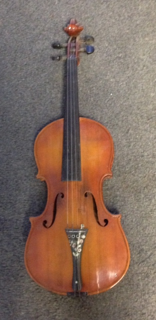 Early German Violin With Ebony Tailpiece Inlaid With Mother