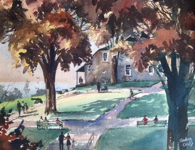 RICHARD OCHS WATERCOLOR 'WASHINGTON HEADQUARTERS', NEWBURGH NEW YORK