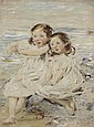 WILLIAM MCTAGGART R.S.A., R.S.W. (SCOTTISH 1835-1910) A DOUBLE PORTRAIT OF NELLY AND BETTY MCTAGGART 113cm x 85.5cm (44.5in x 33.75i...