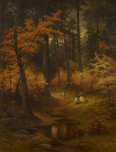 JOSEPH FARQUHARSON R.A. (SCOTTISH 1846-1935) AUTUMN GOLD 115cm x 90cm (45.25in x 35.5in)