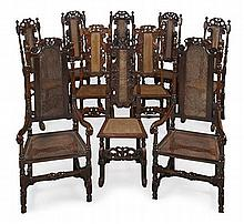 MATCHED SET OF EIGHT WILLIAM & MARY WALNUT HALL CHAIRS 17TH CENTURY 47cm wide, 127cm high, 39cm deep approx