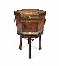 GEORGE III HEXAGONAL MAHOGANY WINE COOLER AND STAND 18TH CENTURY 52cm wide, 77cm high