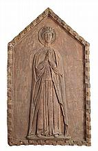 CONTINENTAL TERRACOTTA PANEL LATE 19TH CENTURY 60cm wide, 102cm high