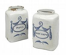PAIR OF DELFT DRUG JARS 18TH / EARLY 19TH CENTURY 19cm high