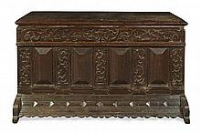 LARGE DUTCH CARVED OAK KIST 17TH CENTURY 157cm wide, 89cm high, 70cm deep