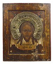 LARGE RUSSIAN ICON OF THE HOLY FACE (MANDYLION) 18TH / 19TH CENTURY 52cm high, 43cm wide