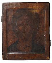 RUSSIAN ICON OF CHRIST PANTOCRATOR 17TH / 18TH CENTURY 26cm wide, 31.5cm high