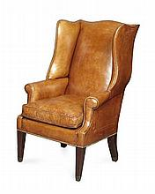 GEORGE III MAHOGANY AND LEATHER UPHOLSTERED WING ARMCHAIR CIRCA 1790 67cm wide, 111cm high, 56cm deep