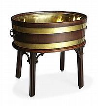GEORGE III MAHOGANY AND BRASS BOUND WINE COOLER ON STAND CIRCA 1760 61cm wide, 56cm high, 43cm deep