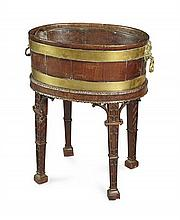 GEORGE III MAHOGANY AND BRASS BOUND WINE COOLER ON STAND 18TH CENTURY 54cm wide, 69cm high, 38cm deep