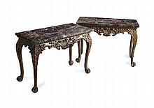 PAIR OF GEORGE II STYLE CARVED PINE AND MARBLE CONSOLE TABLES 19TH CENTURY 122cm long, 52cm deep
