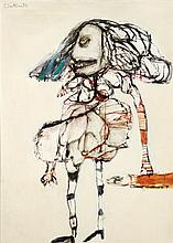§ PAT DOUTHWAITE (SCOTTISH 1939-2002) FUNNY LADY 139cm x 100cm (54.75in x 39.25in)