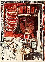 § SIR ROBIN PHILIPSON R.A., P.R.S.A., R.S.W., R.G.I. (SCOTTISH 1916-1992) KING PHASE II 59.5cm x 44cm (23.5in x 17in)
