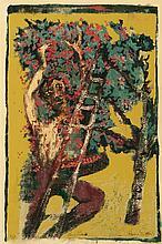 HARRY GOTTLIEB (ROMANIAN/AMERICAN 1895-1992) CHERRY PICKER 58cm x 38.5cm (23in x 15in)