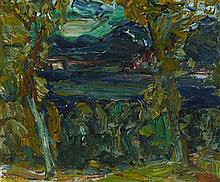 § SIR WILLIAM MACTAGGART P.R.S.A., R.A., R.S.W. (SCOTTISH 1903-1981) LOCH THROUGH THE TREES 29cm x 34.5cm (11.5in x 13.5in)