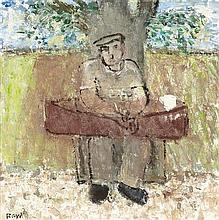 § JOHN BOYD R.P., R.G.I. (SCOTTISH 1940-2001) UNDER A TREE 29cm x 29cm (11.5in x 11.5in)