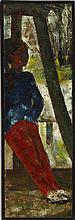 § JOHN BOYD R.P., R.G.I. (SCOTTISH 1940-2001) GIRL IN RED TROUSERS 44.5cm x 14cm (17.5in x 5.5in)