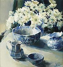 § ETHEL WALKER (SCOTTISH B.1941) BLUE SHADOWS 51cm x 46cm (20in x 18in)