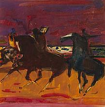 § SIR ROBIN PHILIPSON R.A., P.R.S.A., R.S.W., R.G.I. (SCOTTISH 1916-1992) HORSEMEN 25cm x 25cm (10in x 10in)