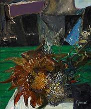 § GEOFFREY SQUIRE (SCOTTISH 1923-2012) AUTUMN FLOWERS 39cm x 33cm (15.5in x 13in)