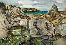 § JACK FIRTH R.S.W. (SCOTTISH B.1917) THEIR PLACE AND OURS 38cm x 56cm (15in x 22in)