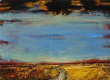 § JOHN HOUSTON O.B.E., R.S.A., R.S.W., R.G.I. (SCOTTISH 1930-2008) CORNFIELDS, EAST LOTHIAN 30cm x 40cm (12in x 16in)