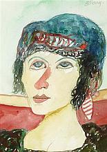 § JOHN BELLANY C.B.E., R.A., H.R.S.A. (SCOTTISH 1942-2013) WOMAN WITH GREEN HAIR 36cm x 26cm (14in x 10in)