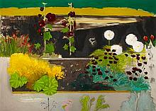 DAVID MICHIE O.B.E., R.S.A., R.G.I. (SCOTTISH B.1928) LADIES MANTLE, HOLLYHOCKS AND COSMOS 91cm x 127cm (36in x 50in)