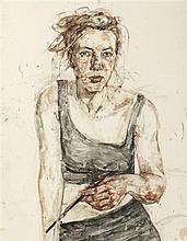 § SARAH MCLAREN (SCOTTISH CONTEMPORARY) SELF-PORTRAIT 74cm x 58cm (29in x 23in)
